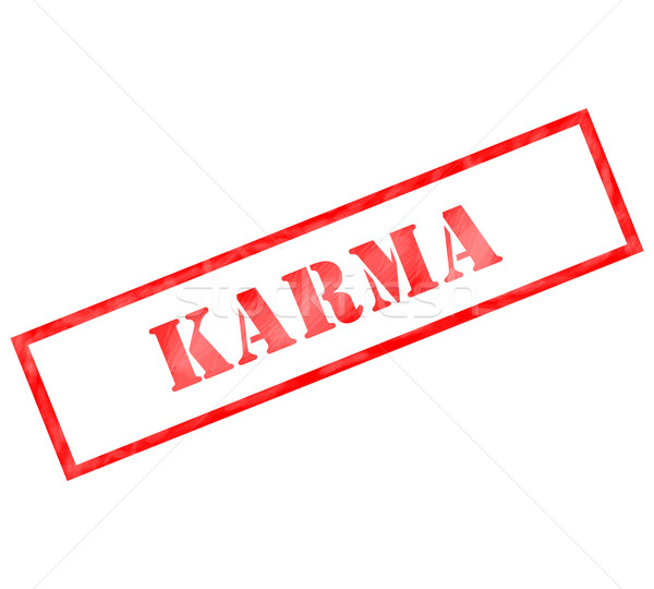 Red Karma weathered rectangle shaped stamp Stock photo © mybaitshop