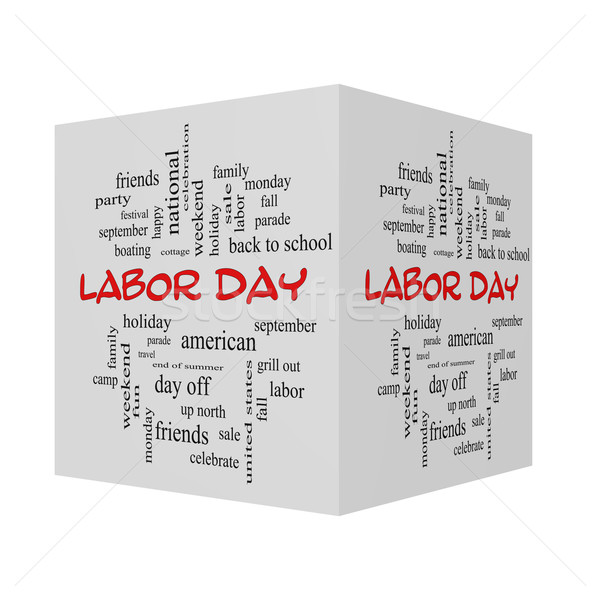 Labor Day 3D Word Cloud Concept in red caps Stock photo © mybaitshop