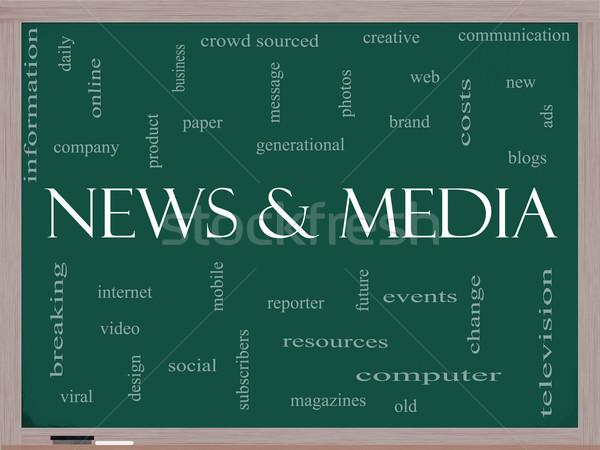 Medya kelime bulutu tahta muhteşem televizyon viral Stok fotoğraf © mybaitshop