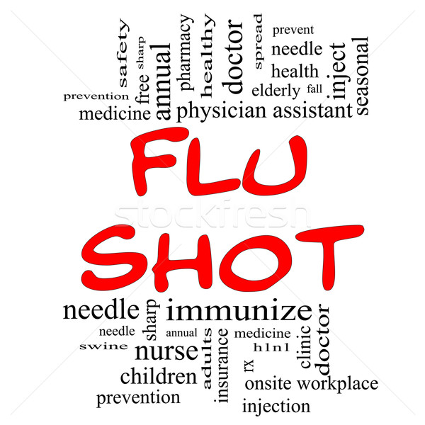 Flu Shot Word Cloud Concept in red & black Stock photo © mybaitshop