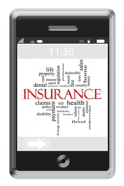 Insurance Word Cloud Concept on Touchscreen Phone Stock photo © mybaitshop