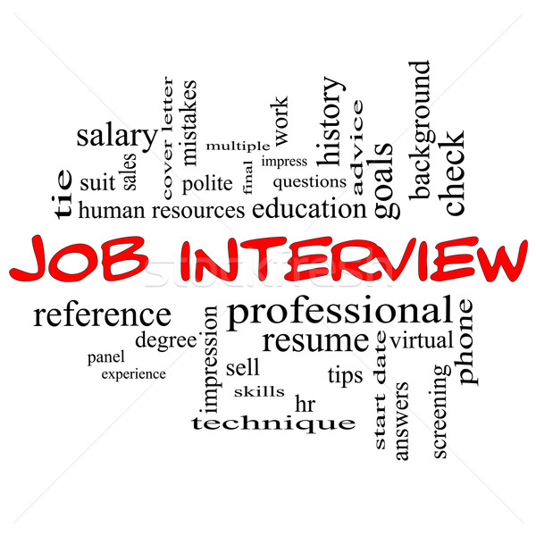 Job Interview Word Cloud Concept in Red Caps Stock photo © mybaitshop