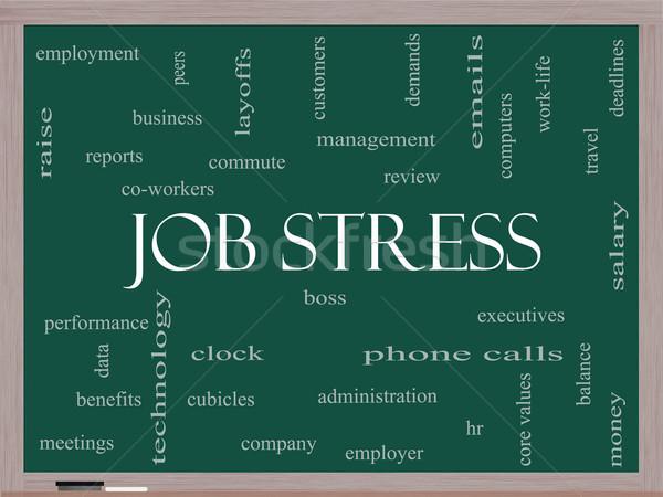Job Stress Word Cloud Concept on a Blackboard Stock photo © mybaitshop