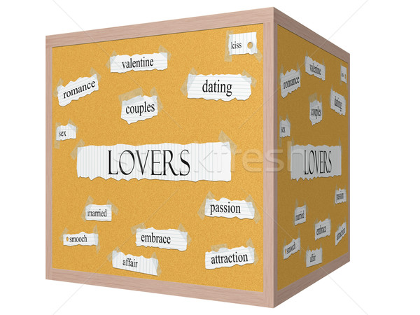 Lovers 3D cube Corkboard Word Concept Stock photo © mybaitshop