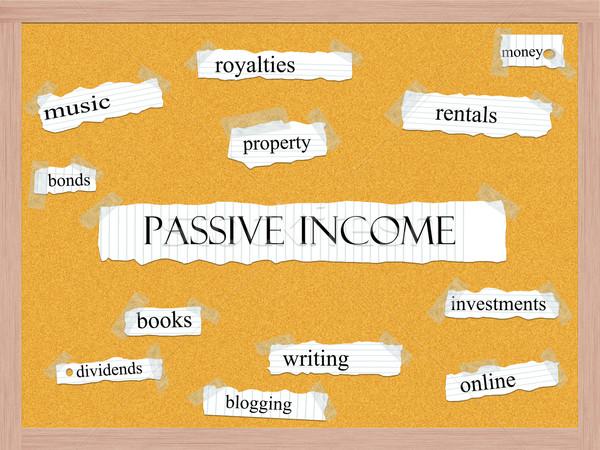 Passzív jövedelem szó nagyszerű pénz zene Stock fotó © mybaitshop