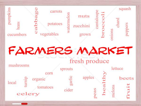 Farmers Market Word Cloud Concept on a Whiteboard Stock photo © mybaitshop