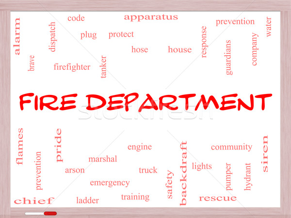 Fire Department Word Cloud Concept on a Whiteboard Stock photo © mybaitshop