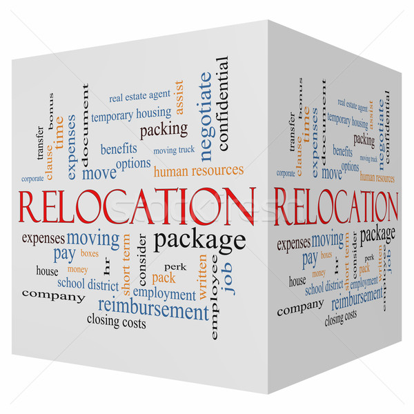 Relocation 3D cube Word Cloud Concept Stock photo © mybaitshop