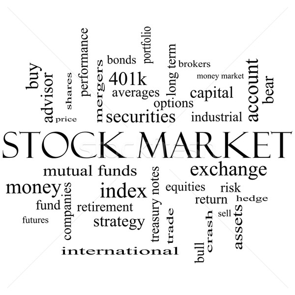 Stock Market Word Cloud Concept in black and white Stock photo © mybaitshop