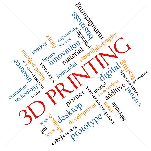 3D druku chmura słowo cyfrowe warstwy Zdjęcia stock © mybaitshop