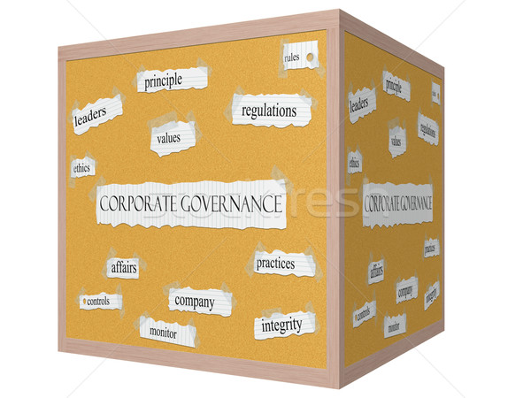 Corporate Governance 3D cube Corkboard Word Concept Stock photo © mybaitshop
