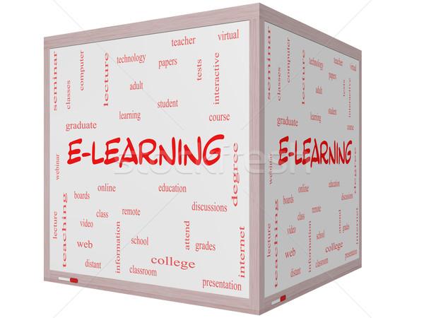 Online oktatás szófelhő 3D kocka tábla nagyszerű Stock fotó © mybaitshop