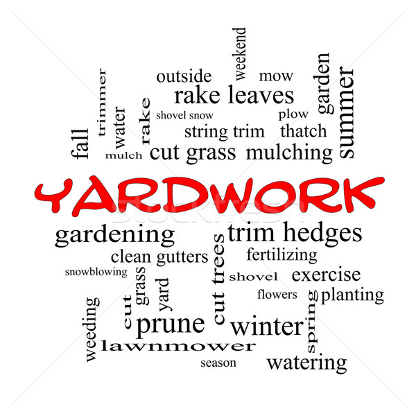 Yardwork Word Cloud Concept in red caps Stock photo © mybaitshop