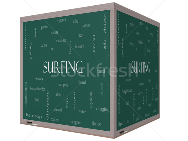 Surfing Word Cloud Concept on a 3D cube Blackboard Stock photo © mybaitshop