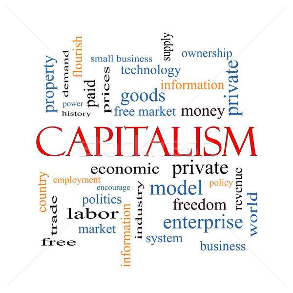 Capitalismo nuvem da palavra econômico livre mais Foto stock © mybaitshop