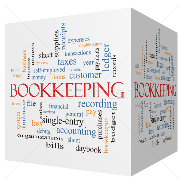 Bookkeeping 3D cube Word Cloud Concept Stock photo © mybaitshop