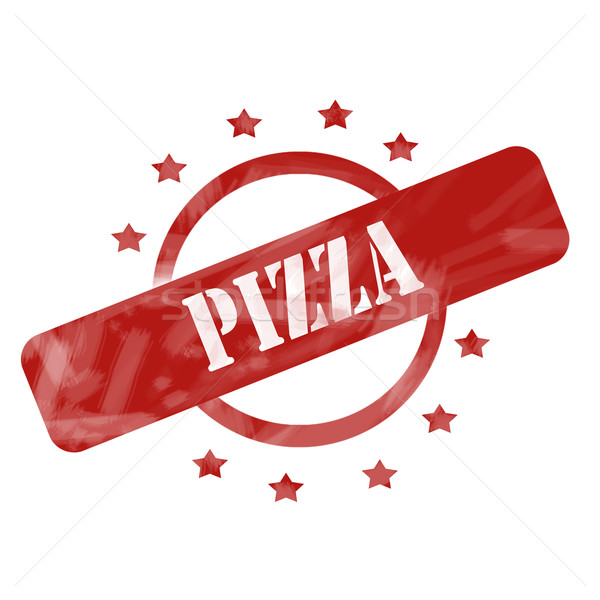 Red Weathered Pizza Stamp Circle and Stars design Stock photo © mybaitshop