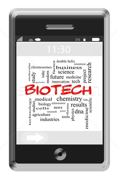 Biotech Word Cloud Concept on Touchscreen Phone Stock photo © mybaitshop