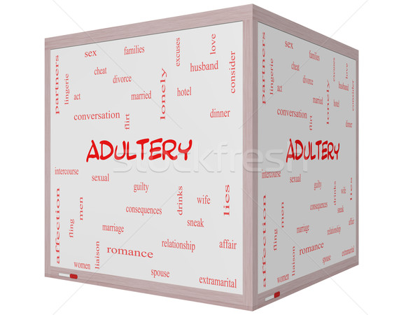 Adultery Word Cloud Concept on a 3D cube Whiteboard Stock photo © mybaitshop