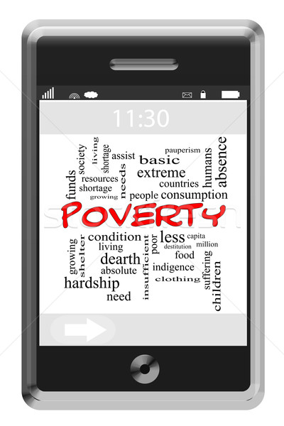 Poverty Word Cloud Concept on Touchscreen Phone Stock photo © mybaitshop