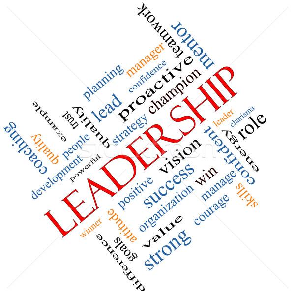 Leadership Word Cloud Concept Angled Stock photo © mybaitshop