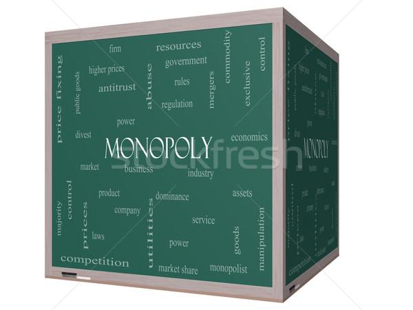 Stock fotó: Monopólium · szófelhő · 3D · kocka · iskolatábla · nagyszerű