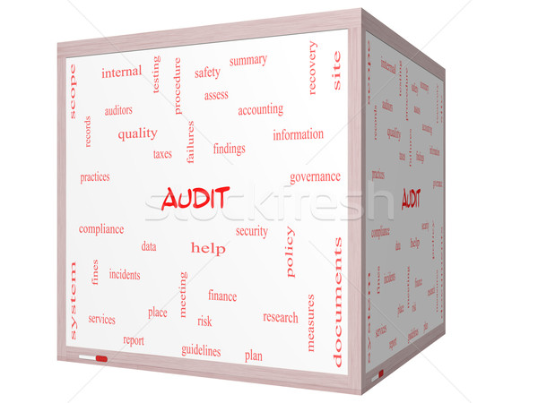 Audit Word Cloud Concept on a 3D cube Whiteboard Stock photo © mybaitshop