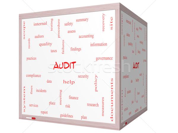 Revisione word cloud 3D cubo Foto d'archivio © mybaitshop