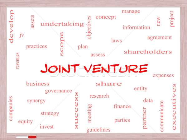 Joint Venture Word Cloud Concept on a Whiteboard Stock photo © mybaitshop