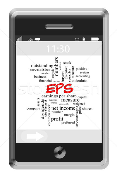 EPS Word Cloud Concept on a Touchscreen Phone Stock photo © mybaitshop