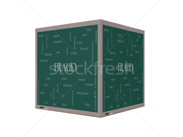 Fraud Word Cloud Concept on a 3D Blackboard Stock photo © mybaitshop