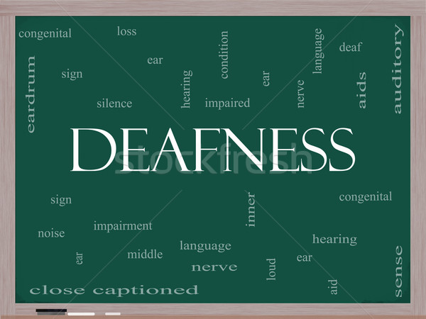 Deafness Word Cloud Concept on a Blackboard Stock photo © mybaitshop