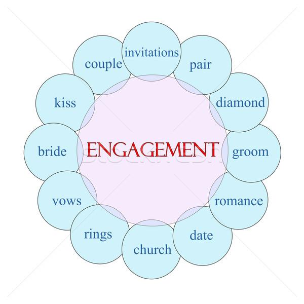 Zdjęcia stock: Zaręczynowy · słowo · schemat · różowy · niebieski