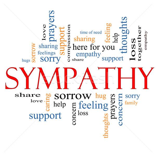 Sympathie woordwolk groot verdriet gevoelens verlies Stockfoto © mybaitshop