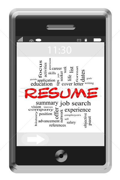 Resume Word Cloud Concept on Touchscreen Phone Stock photo © mybaitshop