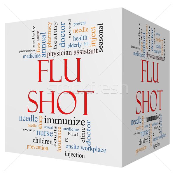 Flu Shot 3D Cube Word Cloud Concept Stock photo © mybaitshop