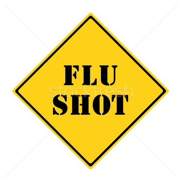Influenza lövés jelzőtábla citromsárga fekete gyémánt Stock fotó © mybaitshop