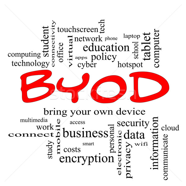 BYOD Word Cloud Concept in red caps Stock photo © mybaitshop