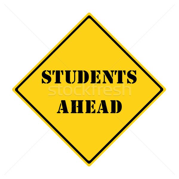 Estudantes à frente assinar amarelo preto diamante Foto stock © mybaitshop