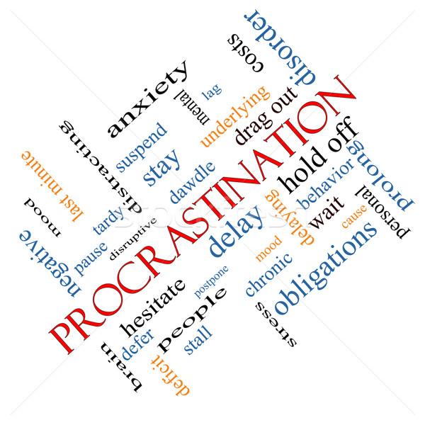 Procrastinação nuvem da palavra ansiedade atrasar comportamento Foto stock © mybaitshop