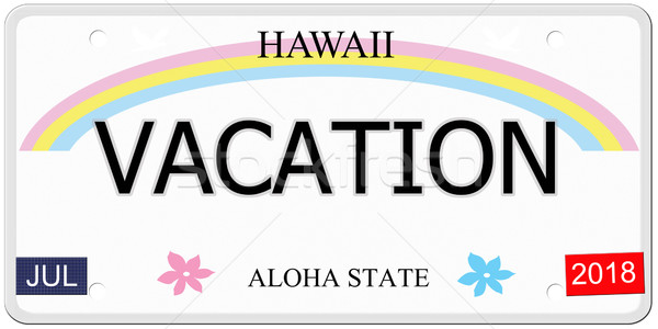 Vacances Hawaii plaque d'immatriculation écrit imitation aloha Photo stock © mybaitshop