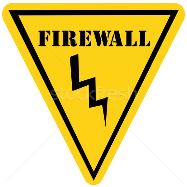 Güvenlik duvarı üçgen imzalamak sarı siyah Stok fotoğraf © mybaitshop