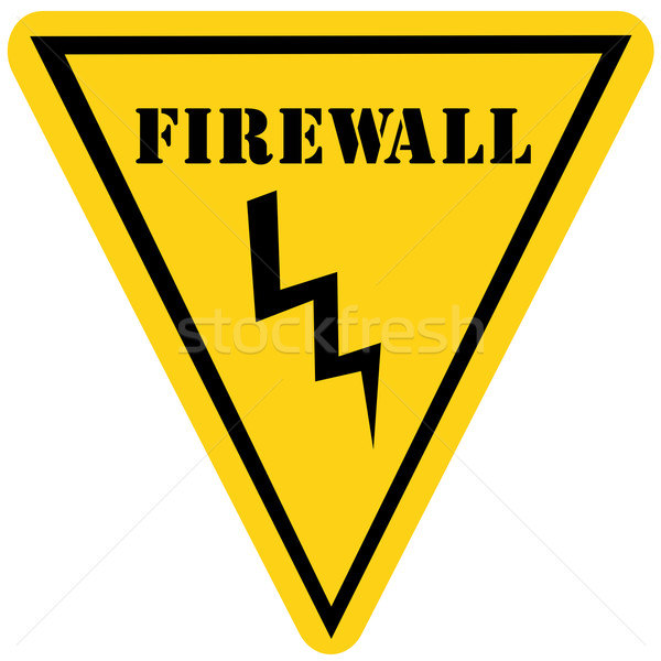 Firewall driehoek teken Geel zwarte Stockfoto © mybaitshop