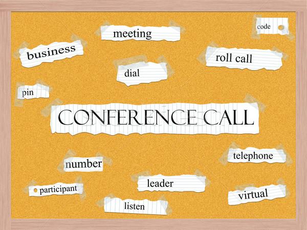 Conference Call Corkboard Word Concept Stock photo © mybaitshop