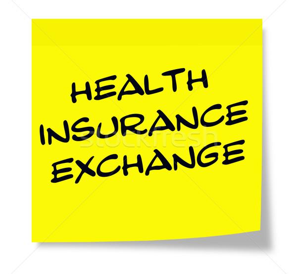 Seguro de saúde troca escrito amarelo nota pegajosa Foto stock © mybaitshop