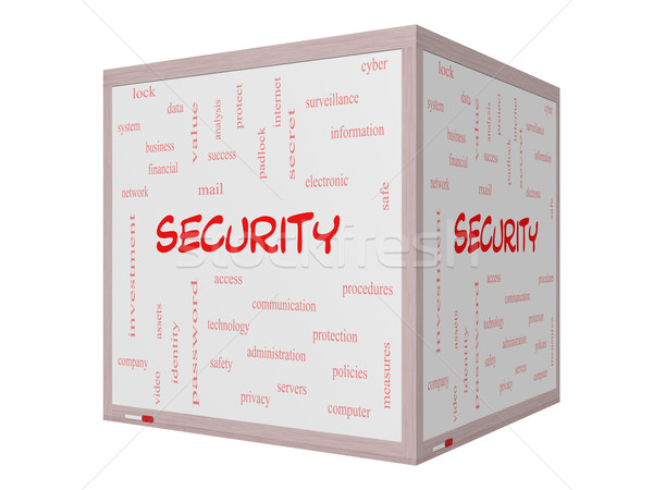 Security Word Cloud Concept on a 3D Whiteboard Stock photo © mybaitshop