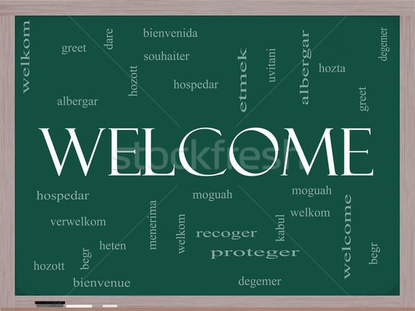 Welcome Foreign Language Word Cloud on Blackboard Stock photo © mybaitshop