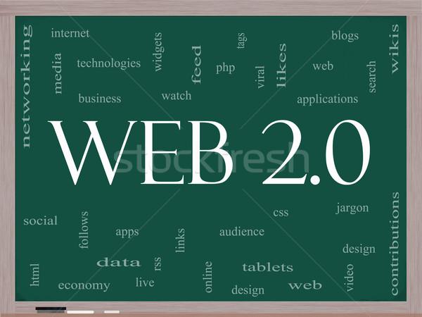 Web 20 nuage de mots tableau noir magnifique blogs Photo stock © mybaitshop