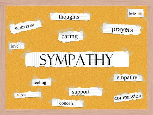 Sympathie woord groot verdriet gedachten Stockfoto © mybaitshop