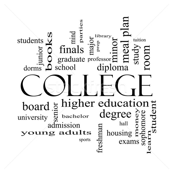 College Word Cloud Concept in black and white Stock photo © mybaitshop